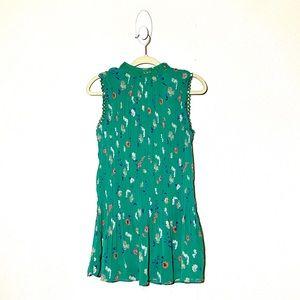 Boutique   High-Neck Floral Pleated Mini Dress